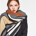 Couple Striped Scarf Luxury Brand Cashmere Winter Scarf Pashmina Women Ponchos and Capes Infinity Scarf Men Shawl Scarfs