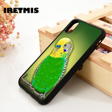 Iretmis 5 5S SE 6 6S Soft TPU Silicone Rubber phone case cover for iPhone 7 8 plus X Xs Max XR Green Parakeet - Budgie Bird Pet(China)