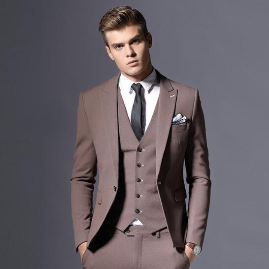 Brand Mens Suit Jacket Formal Business Blazer Men Groom Three Pieces Slim Fit Party Clothing Single Button Wedding Dress