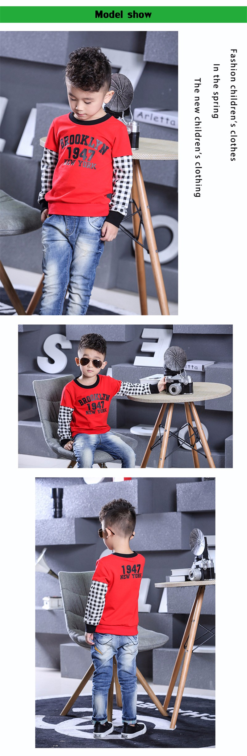 T-Shirt For Boy Sweater Ruffle Raglan Shirts Child Bobo Choses  The Boy\'s Clothes Kids Tees Children Tops Teenage Boys Clothing 13