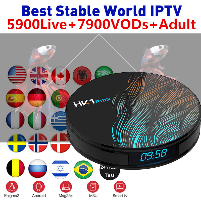 HK1 MAX Android 9.0 Smart IPTV Box 4G 32G/64G Wifi BT4.0 IPTV Subscription France Portugal Belgium Italy TV Box Media Player(China)