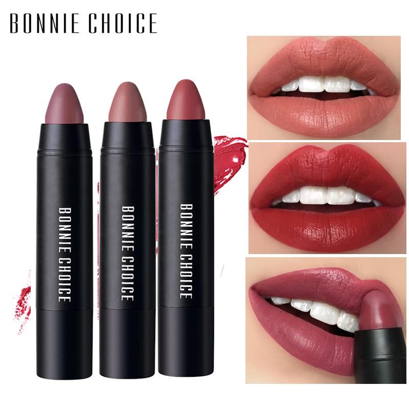 BONNIE CHOICE 10 Colors Matte Lipstick Waterproof Lip Stick Cosmetic Easy To Wear Velvet  Lipstick Makeup Lip Pencil Pen