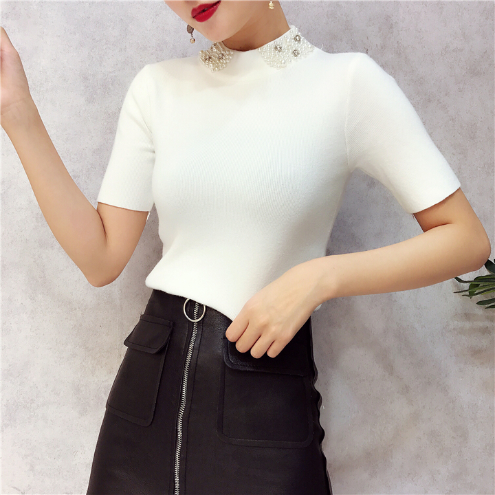 ALPHALMODA 18 Summer Ladies Short-sleeved Pearl Collar Pullovers Casual Slim Knit Sweater Women Studded Fashion Jumpers 16