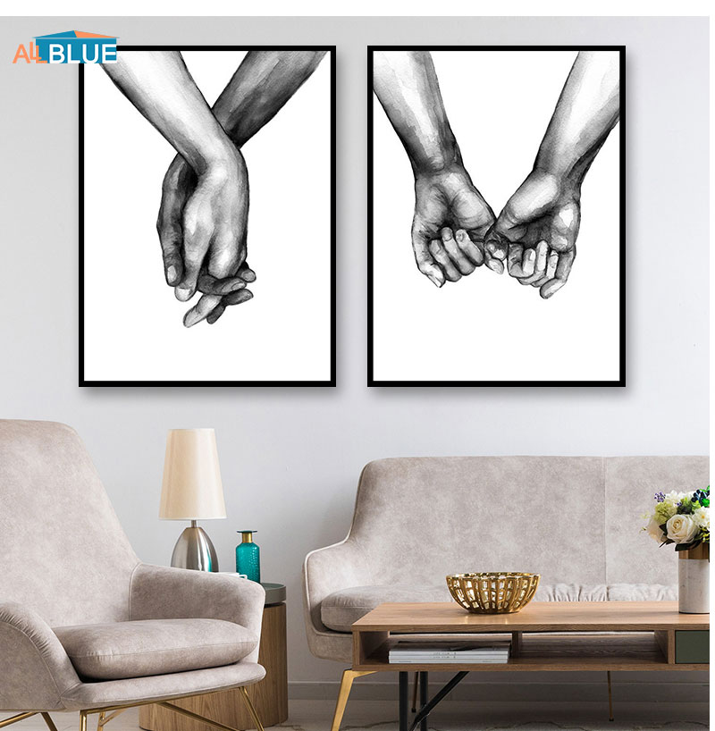 HTB1qlBLX4 rK1RkHFqDq6yJAFXaS Nordic Poster Black And White Holding Hands Canvas Prints Lover Quote Wall Pictures For Living Room Abstract Minimalist Decor