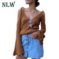 NLW Sexy V Neck Lace Off Shoulder Women Sweater 2017 Fashion Autumn Flare Full Sleeve Winter