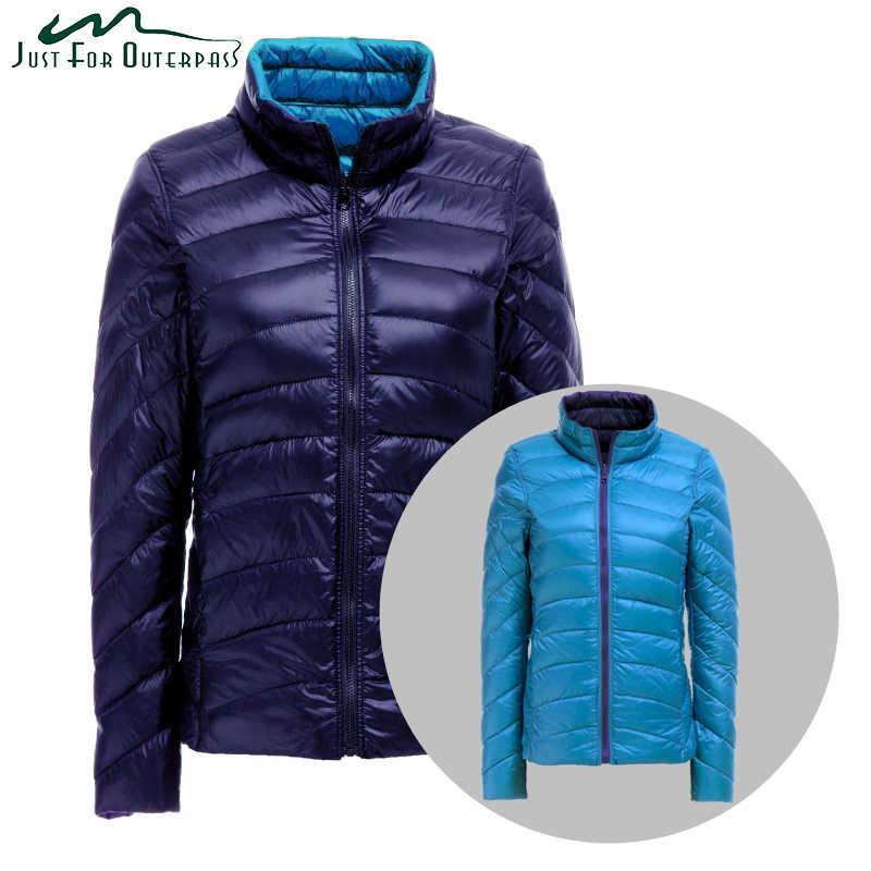 dd4ec95fcbc Новое осенне-зимнее теплое пальто ультра легкая пуховая куртка женская  Двухсторонняя куртка реверсивная плюс размер