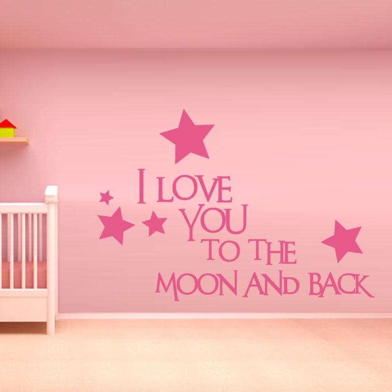 I love you to the moon and back baby wall decals pink star for Love decorations for the home