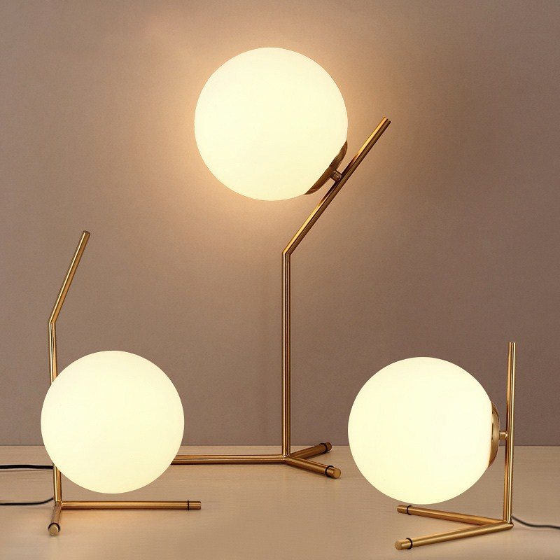 US $43.65 55% OFF|Modern Table Lamps Glass LED Desk Lamps Shade Globe Ball  Bedside Lamp Light for Bedroom Living Room luminiares Fixtures-in LED Table  ...