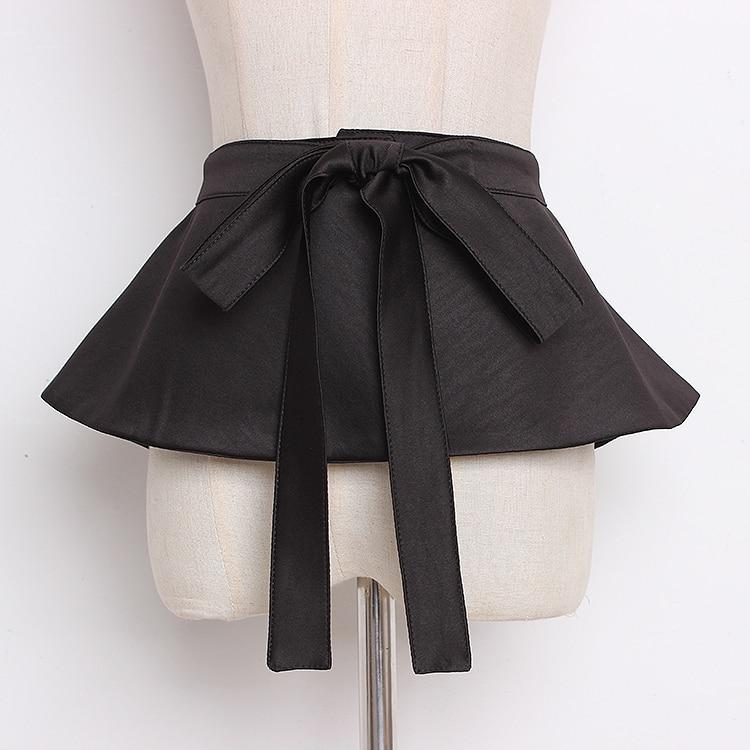Women's Runway Fashion Solid Black Fabric Cummerbunds Female Dress Corsets Waistband Belts Bow Decoration Wide Belt R1349