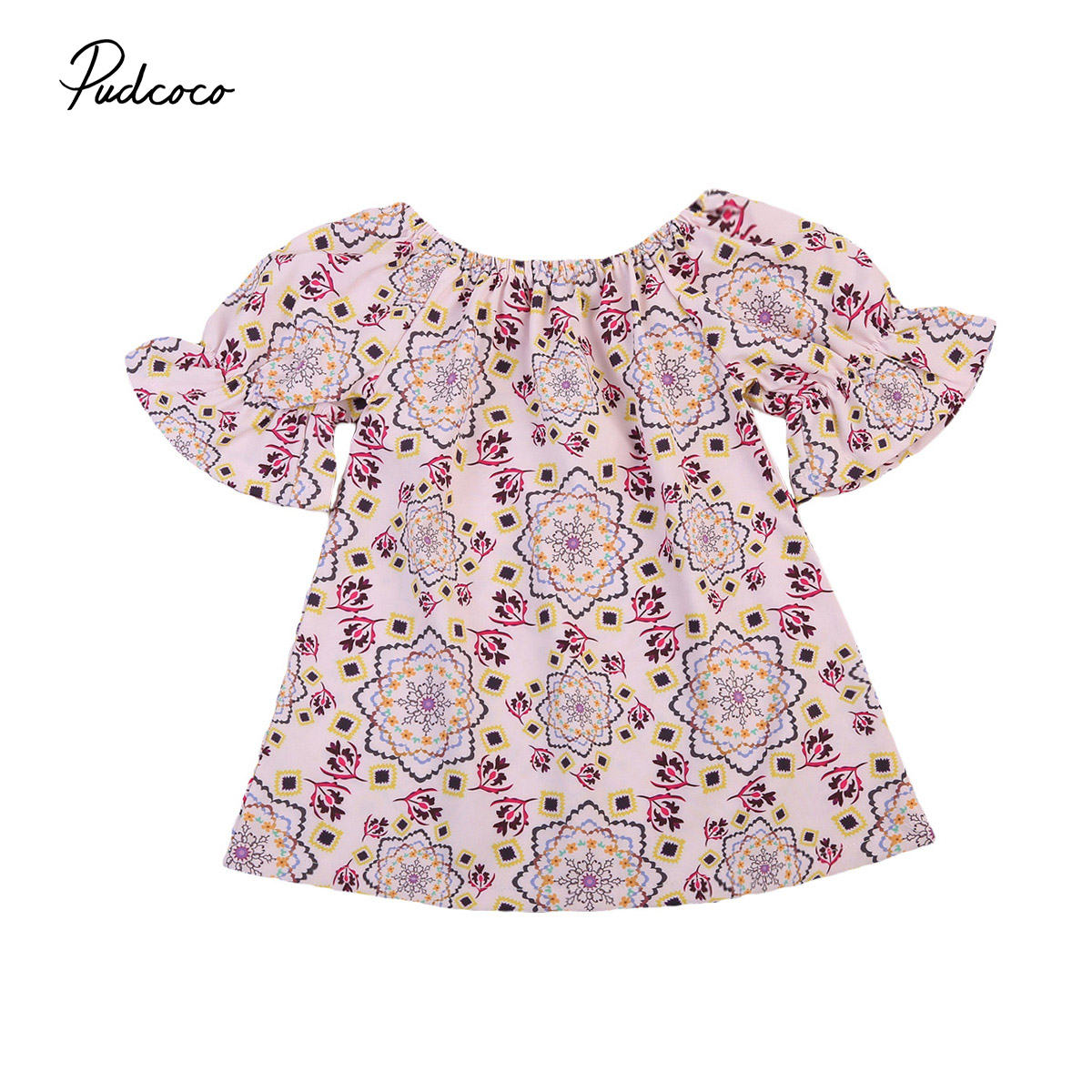 New Toddler Newborn Baby Kids Girls Ruffles Flowers Mini Dress Princess Party Pageant Flare Sleeve Dresses Casual Clothes Summer ems dhl free shipping new v neck baby girls kids sequin dress tulle dress with ruffles 5 colors princess dress casual wear