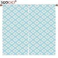 Window Curtains Treatments 2 Panels Geometric Plus Signs Design On Light Blue Background Vintage Repetitive Artwork
