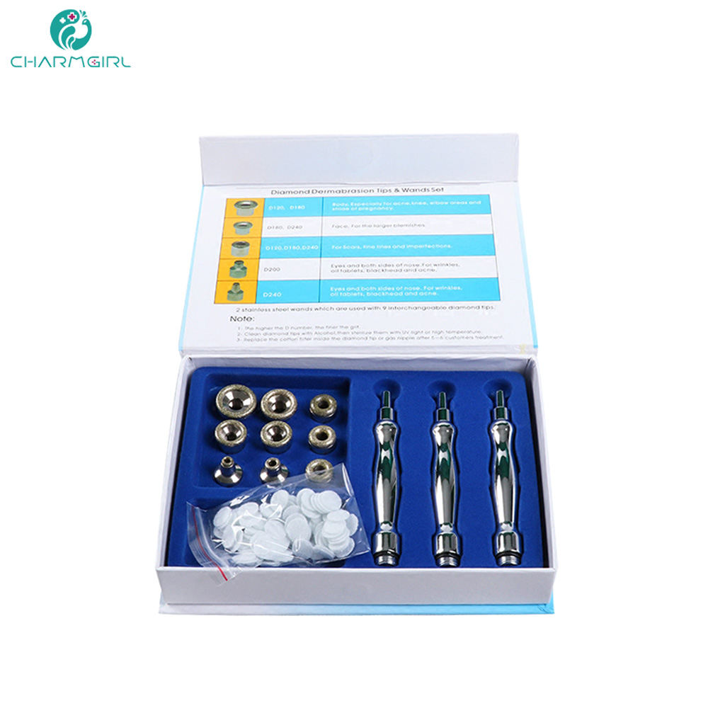 Microdermabrasion Facial Care Tools Diamond Wands Cotton Filter Skin Peel With 3 Wands 9 Tips Diamond Dermabrasion Accessory