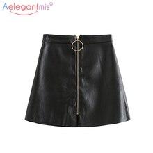 Aelegantmis, весенне-летняя повседневная юбка из искусственной кожи, женская элегантная мини-юбка трапециевидной формы на молнии, женские Обтягивающие юбки с высокой талией черного цвета