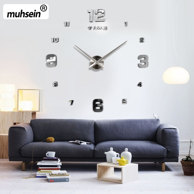 Muhsein 2017 New Wall Decoration  Mirror Wall Clock Modem Design  Large Decorative Clocks Wall  Watch Unique Gift Free Shipping