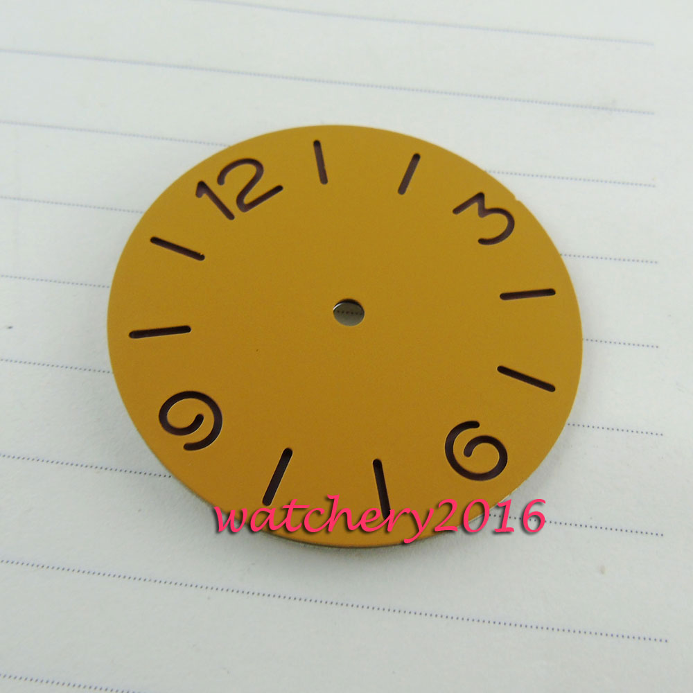 38.9mm Bliger orange dial hollow Number kit fit automatic movement Mens Watch dial ...