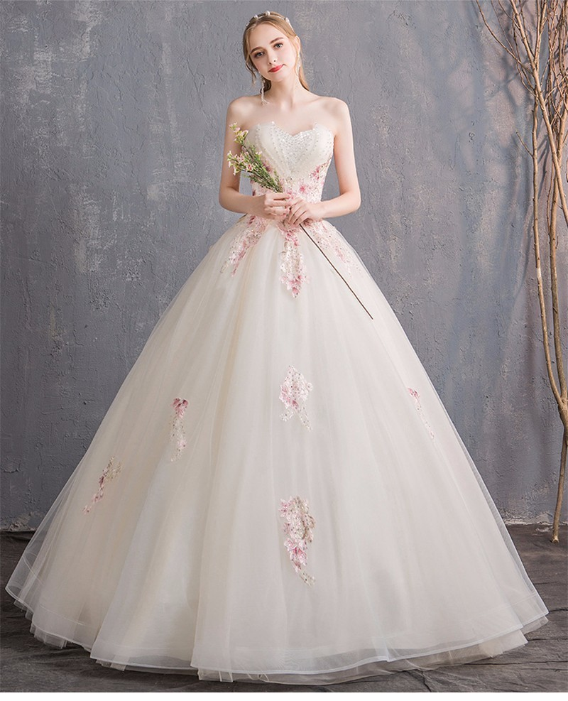 fa5f372f36 Elegant Champagne Wedding Dress 2018 Strapless Color Appliques Lace Beaded  Sexy Backless Bridal Gowns Plus Size Robe de mariee