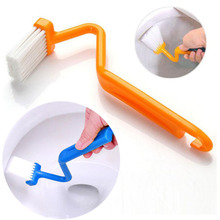 Portable Toilet Brush Scrubber V type Cleaner Clean Brush Bent Bowl Handle
