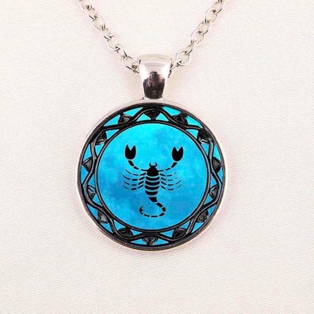 Zodiac Leo Symbol Pendant Pisces Blue Pisces Zodiac Necklace Libra