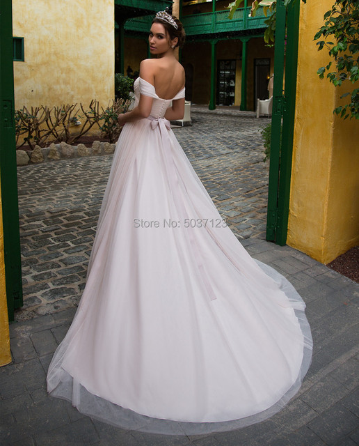 Pink Tulle Wedding Dresses with Sleeves 2021 Off Shoulder Sweetheart Lace Up Floor Length Wedding Bridal Gowns Vestido de noiva 3