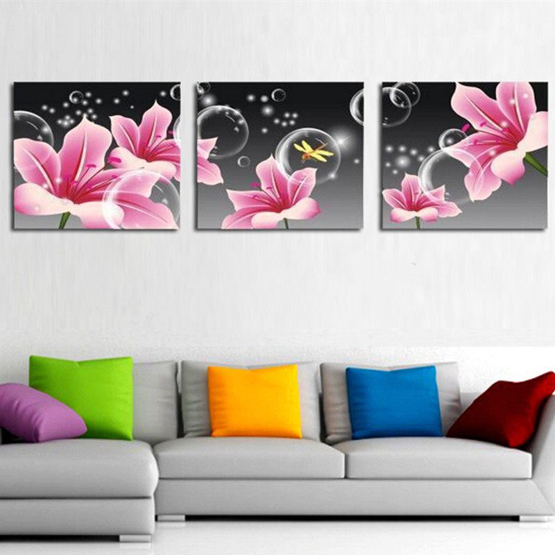Pink Lily Floral Crystal Bubbles Pictures Handpainted Abstract Flower Oil Paintings Home Decor Wall Art Large Canvas Painting