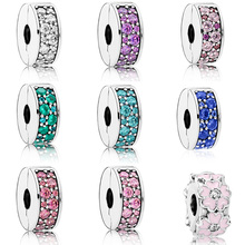Authentic Silver Plated  Bead Round Flower Crystal bracelet buckle head for DIY Pandora Charms Bracelets & Bangles handmade authentic crystal bracelets