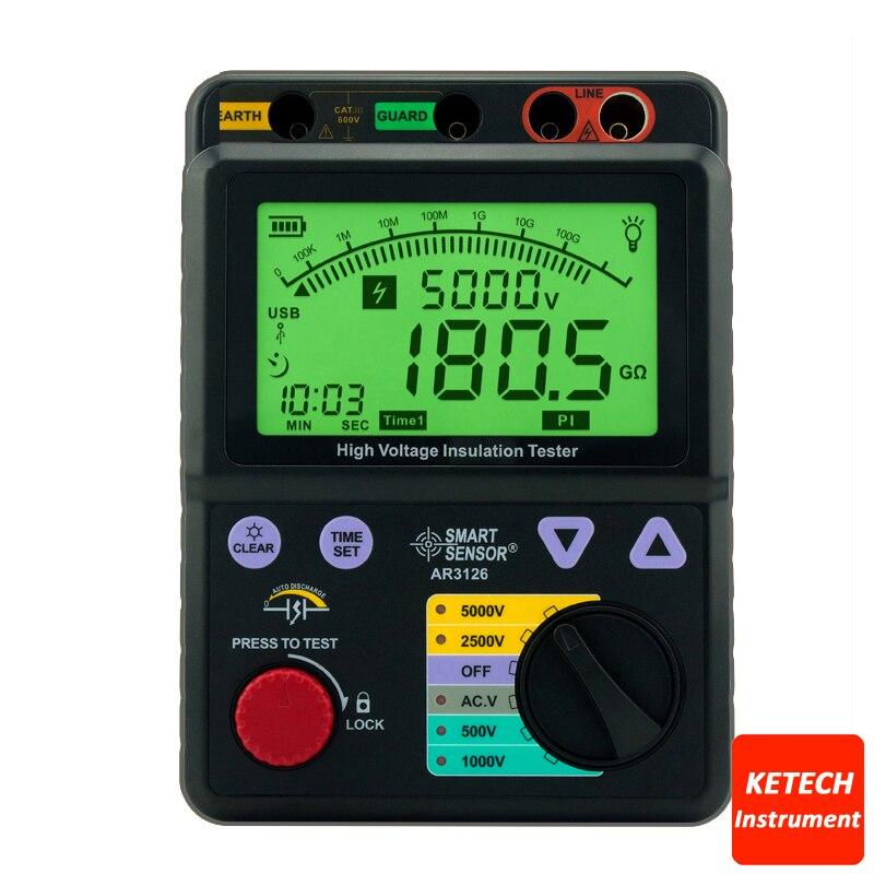Digital High Voltage Insulation Tester 500V/1000V/2500V/5000V AR3126