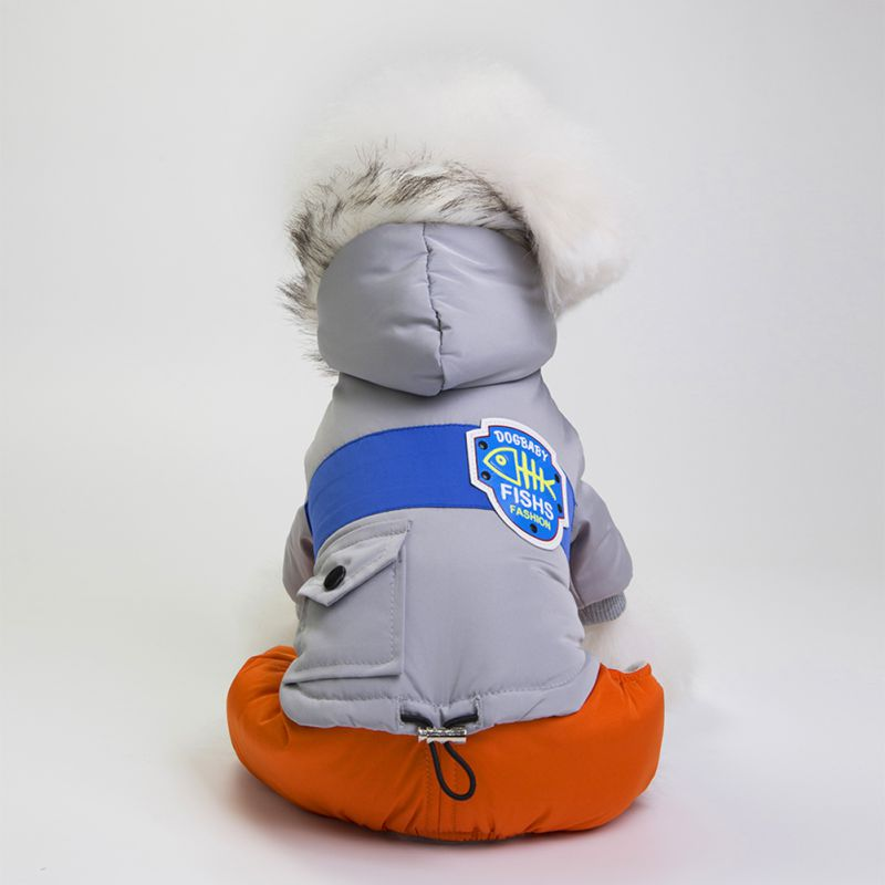 Pet Dog Winter Coats Warm Puppy Cotton Apparel with Caps for Winter Dog 4 Foot C