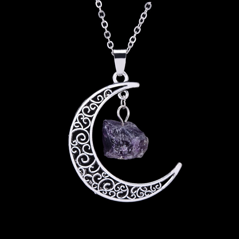 Natural Stone Jewelry : Vintage silver color crescent raw stone pendant necklaces