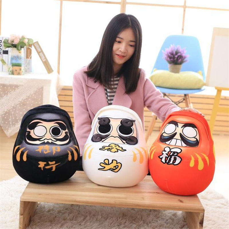 1pcs 32x32cm Cartoon Daruma Plush Toy Anime Darumu Shape Pillow Cushion Super Cute Foam Particle Pillow for Kids Gifts 1pcs 52 26cm creative novelty item funny women big mouth shape cushion pink red lip plush toy throw pillow for couch pregnancy