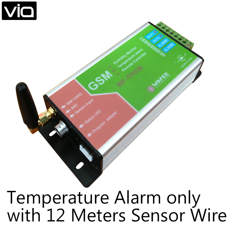 WF-TP02B Direct Factory GSM SMS Remote Controller Temperature Alarm Monitoring Only (No Humidity Function) with 12 Meter Sensor square plate alarm temperature controller meter sw 7ad