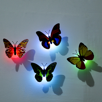 LED Light Night Atmosphere Lamp with Colorful Changing Butterfly Indoor Light with Suction Pad Home Party Desk Wall Decor image