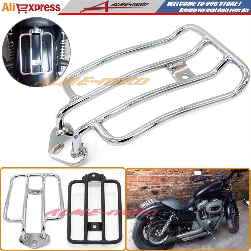 ФОТО Motorcycle Luggage Rack Support Shelf Fit For Stock Solo Seat Harley Sportster XL883 XL1200 2004-2012 Luggage Carrier Chrome