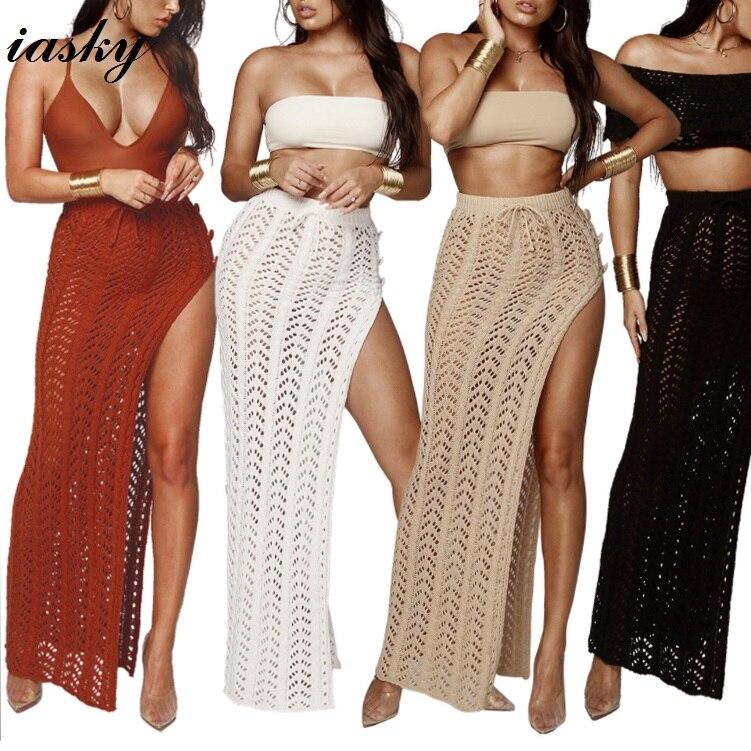Oco para Fora do Biquíni Iasky 2018 Nova Crochet Alta Dividir Praia Saia Longa Mulheres Sexy Maiô Encobrimentos Beachwear Cover up 4 Cores