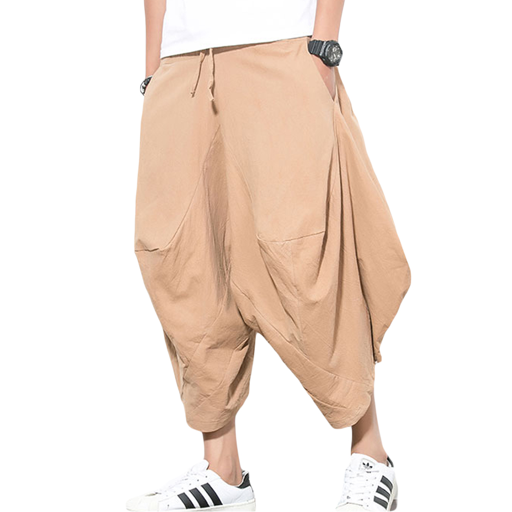 Zioloma Men's Elastic Waist Wide Leg Cotton Harem Baggy Pants Patchwork Linen Capri Trousers