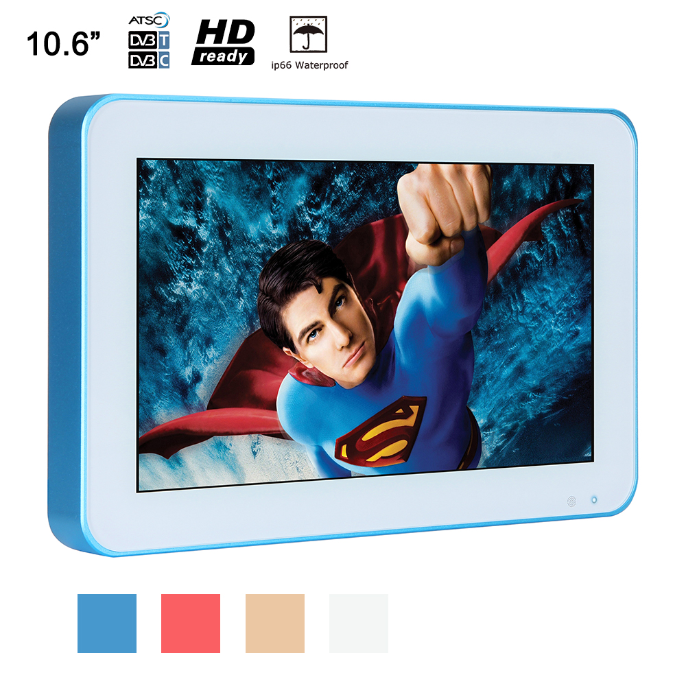 Souria 10.6 inch IP66 Waterproof TV Blue Frame Portable Luxury LED SPA Shower Televisions Bathroom Advertising(China)