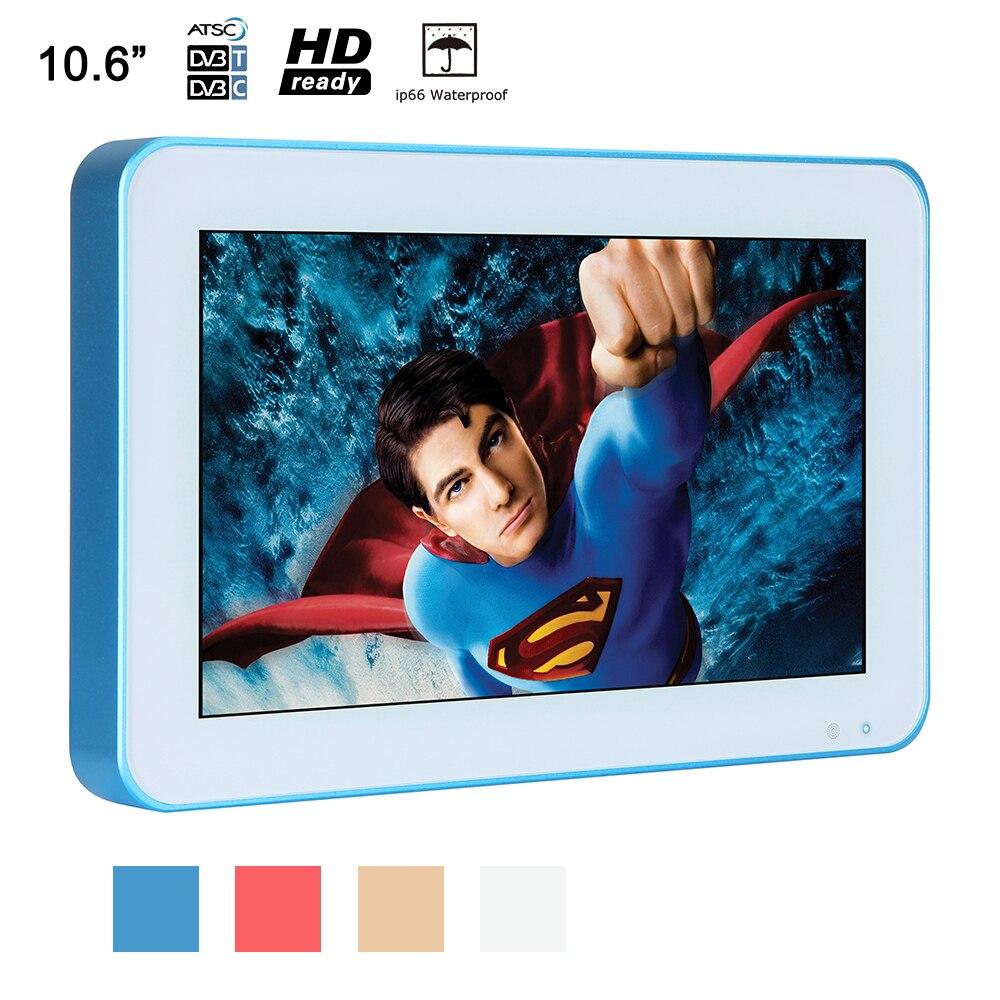 Souria 10.6 pouces IP66 étanche TV cadre bleu Portable de luxe LED SPA douche téléviseurs salle de bains publicité