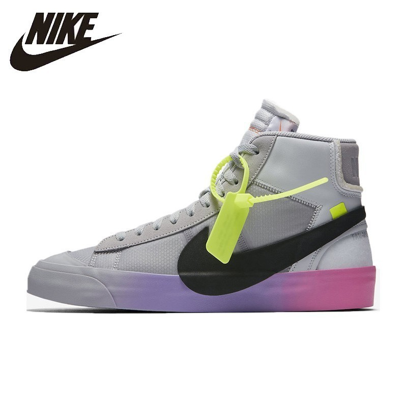 Nike Blazer Mid x offwhite QUEEN ow Mens Skateboarding Shoes Joint Rainbow New Arrival Breathable Sports shoes # AA3832-002Nike Blazer Mid x offwhite QUEEN ow Mens Skateboarding Shoes Joint Rainbow New Arrival Breathable Sports shoes # AA3832-002