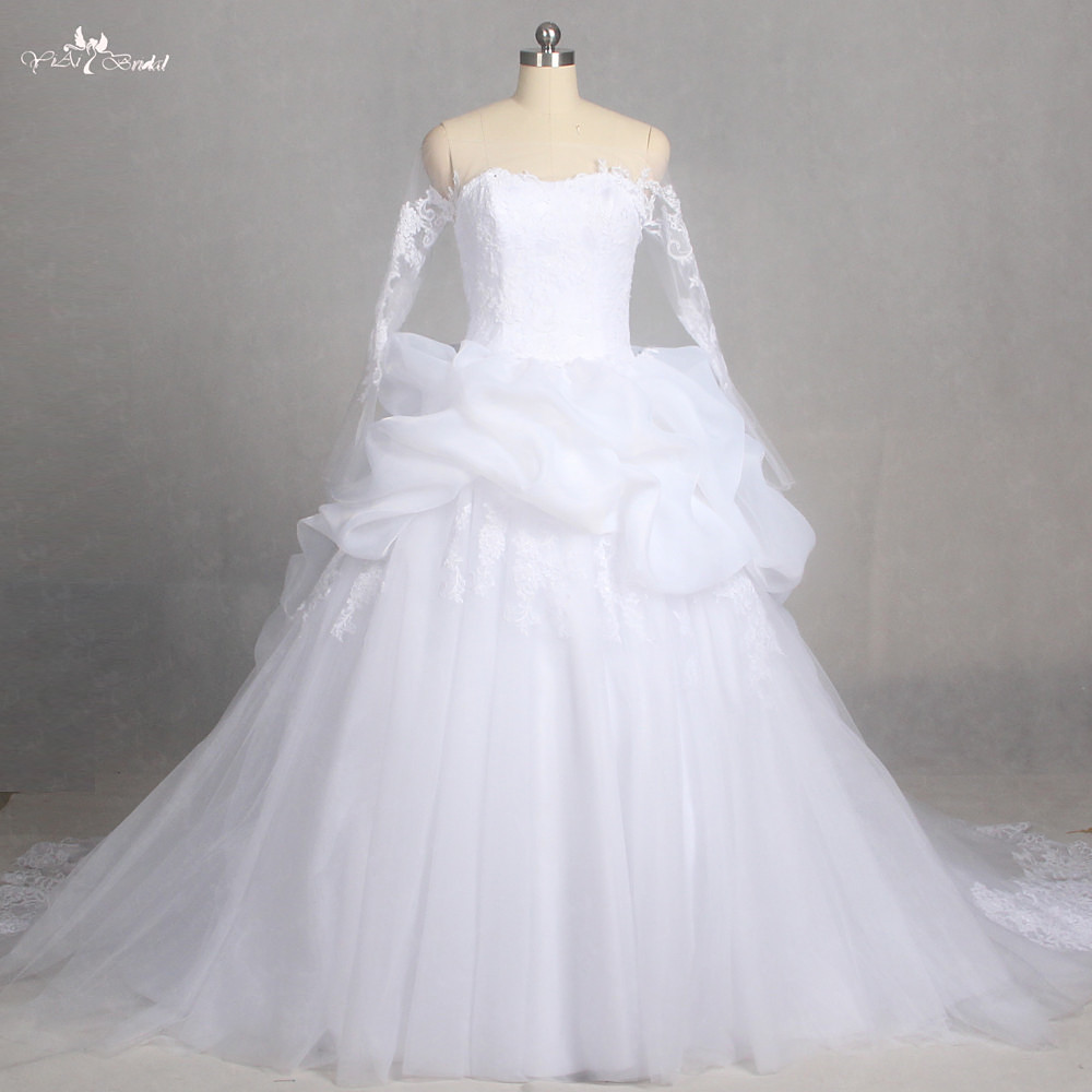 Newest Wedding Dress.Us 309 0 Lz178 Special Empire Ruffle Long Sleeve Wedding Gown Lace Dress Newest Wedding Dresses In Wedding Dresses From Weddings Events On