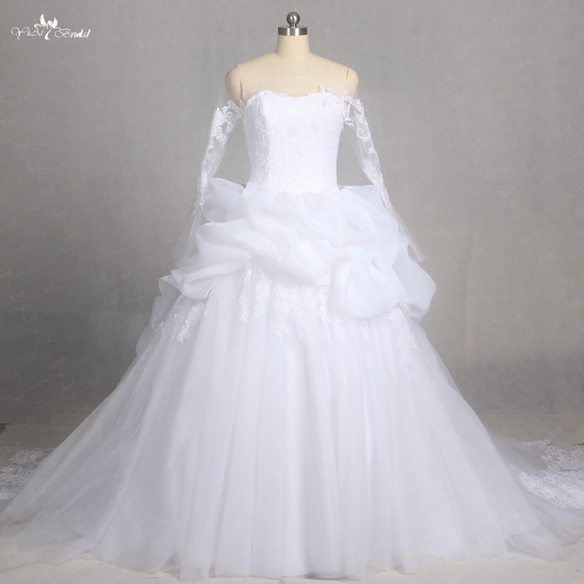 Lz178 Special Empire Ruffle Long Sleeve Wedding Gown Lace Dress Newest Dresses