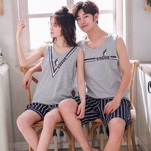 Летние хлопковые Пижамные комплекты для пар, мультяшная Пижама без рукавов, Повседневная Милая брикет, 2 шт./компл., пижамы для влюбленных, одежда для сна