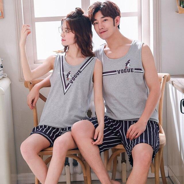 Summer Cotton Couple Vest Pajama Sets Cartoon Pijama Sleeveless Casual Cute Plus Size M 3XL 2Pcs/set Pyjamas Lovers Sleepwear