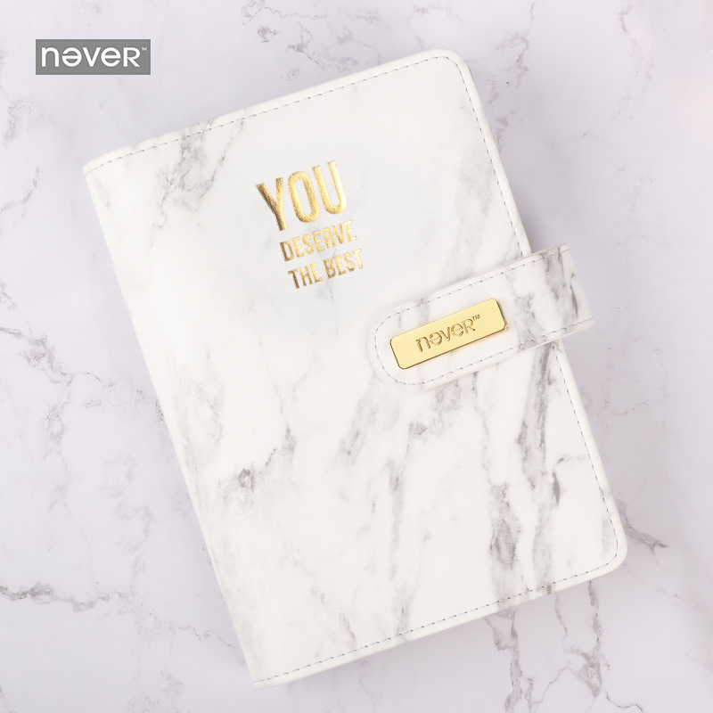 Never Marble Series Leather Cover Binder Notebook Personal Diary Agenda A6 Planner Organizer Gift Packing Office
