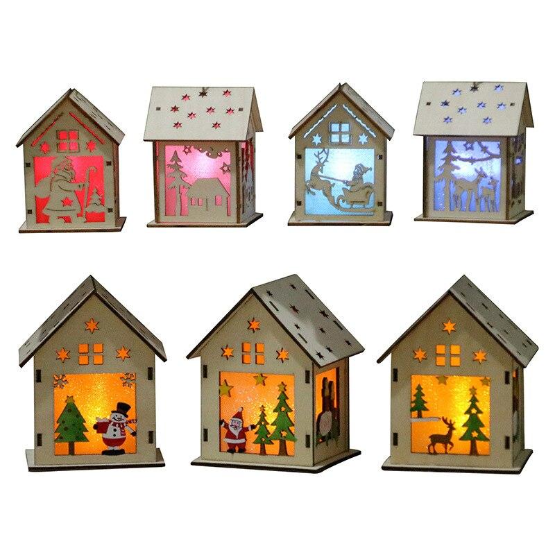 1 pcs Festival LED Wood House Light Christmas Tree Hanging ...