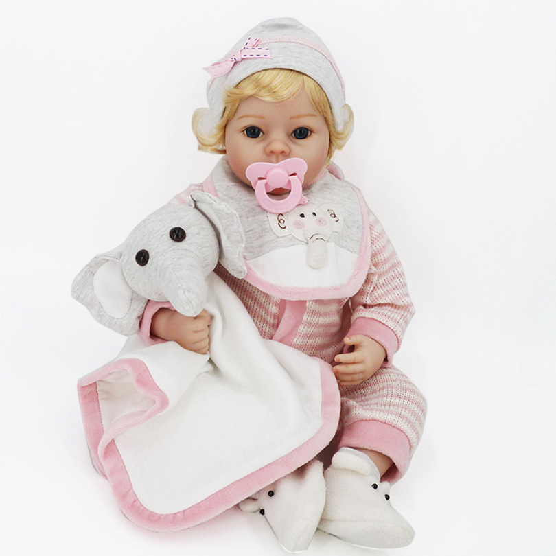 Reborn Babies Realistic Bedtime Dolls with Pacifier Simulator Elephant Puppets High Quality Soft Cotton Dolls for Girls