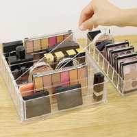 Organizador de Maquillaje acrílico transparente caja de almacenamiento de cosméticos caja de Maquillaje en polvo de escritorio mujeres lápiz labial organizador con soporte maquilaje Lar