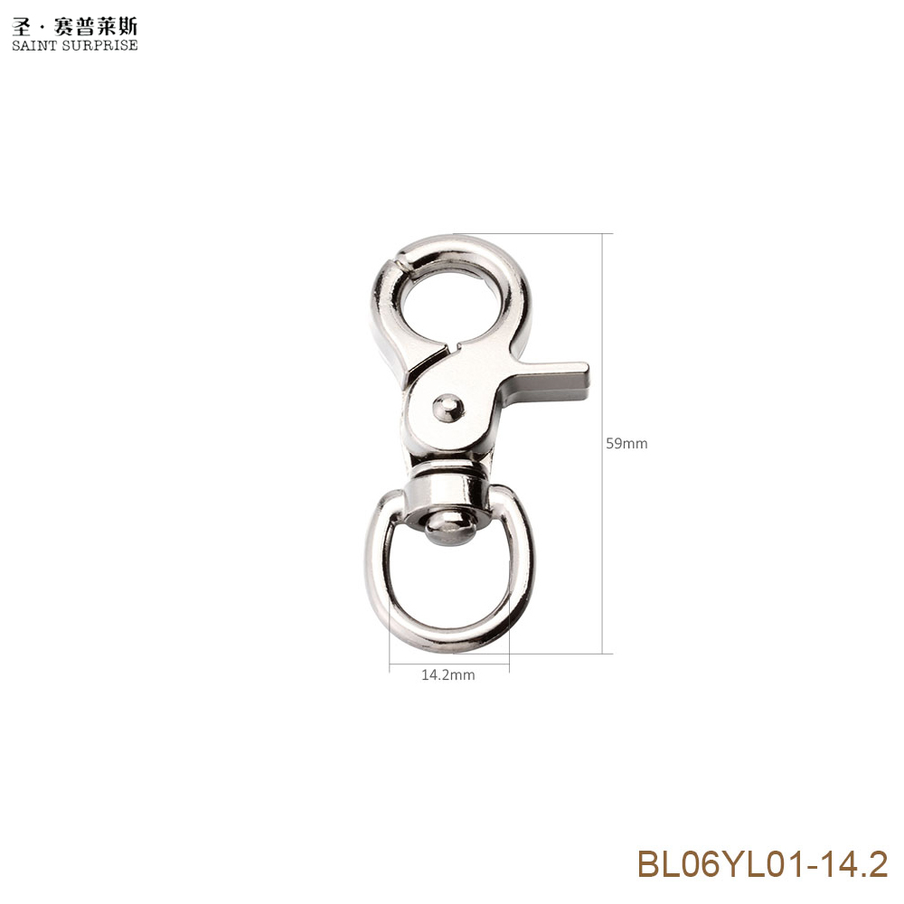 80pcs 59mm Snap Hook Zinc Alloy for 14mm Strapping Key Ring DIY Accessories Swivel Snap Hook