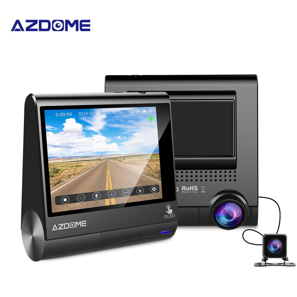 "AZDOME M05 OLED Screen Dash Cam 3"" 1080P FHD Car Camera With GPS Driver Fatigue Alert Time Lapse Dashboard Camera Parking Assist"