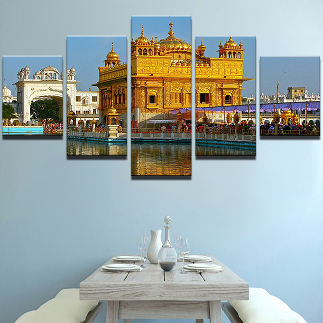 US $5 83 40% OFF|Canvas Painting Home Decorative Modular 5 Panel Golden  Temple HD Print Picture Wall Art Prints Panels Poster For Living Room-in