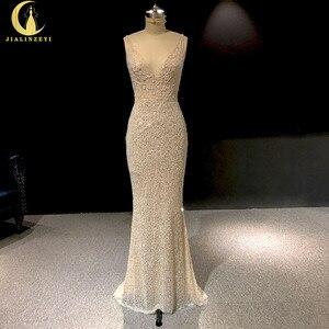 Image 1 - Rhein echt Bilder Tiefem V ausschnitt Sexy Voller Perlen Kristall Meerjungfrau Champagne Formale kleid prom kleider arabisch abendkleider lange