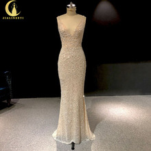 Rhine real Pictures Deep V Neck Sexy Full Beads Crystal Mermaid Champagne Formal dress prom dresses arabic evening dresses long